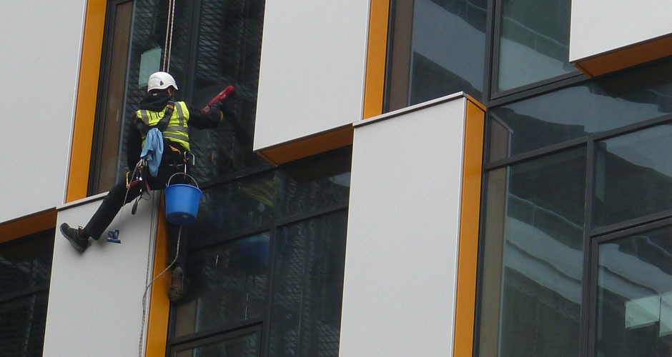 Abseiling/Rope Access Window Cleaning in Salford and the Northwest - HCS Cleaning Services